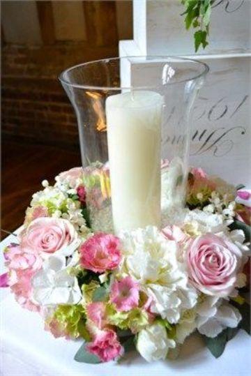 arreglos de velas para 15 años con rosado