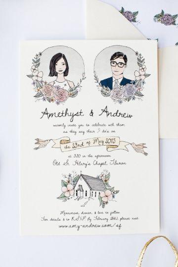 modelos de invitaciones de bodas con ilustraciones