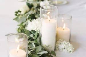 4 centros de mesa con eucalipto para fiestas