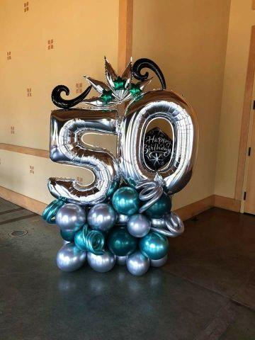 decoracion de globos para hombre de 50