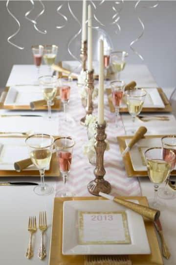 decoracion de mesa de fin de año elegante
