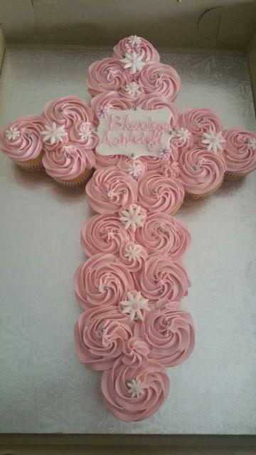 decoracion para bautizo de niña en casa torta