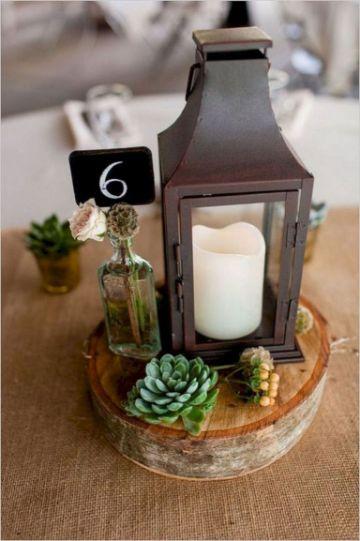 faroles para centro de mesa de madera