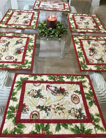 manteles individuales navideños para mesa grande
