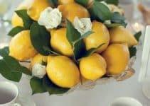 Ideas para centros de mesa con limones y flores sencillos
