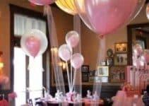 4 centros de mesa de globos con tul para cumpleaños