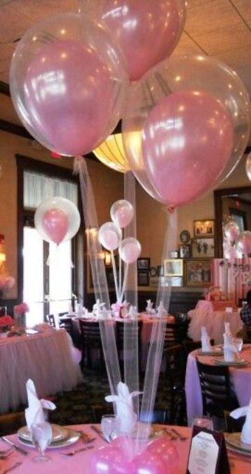 centros de mesa de globos con tul grandes
