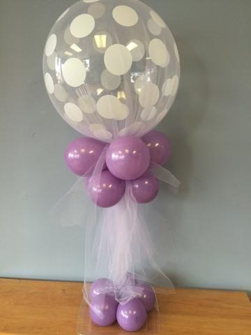 centros de mesa de globos con tul para niñas