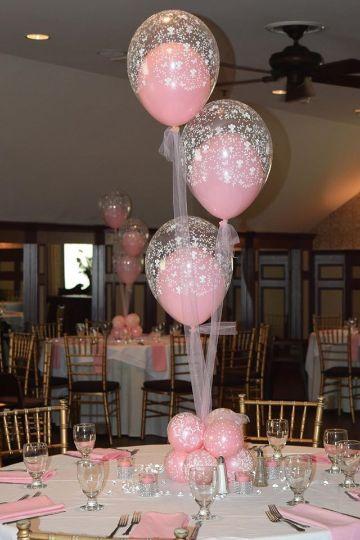 centros de mesa de globos con tul rosados