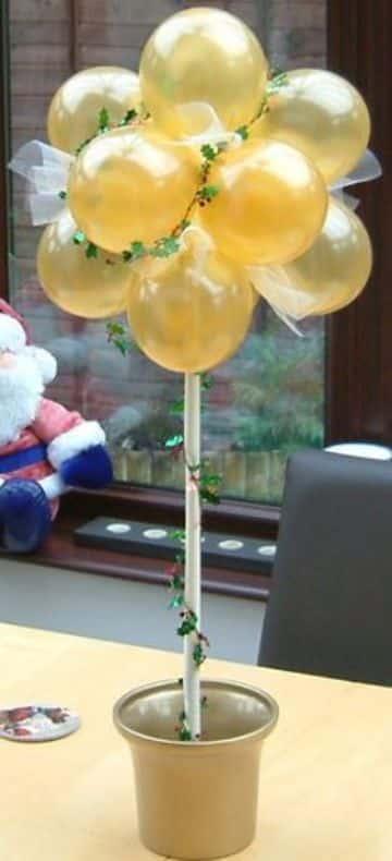 centros de mesa de globos con tul simples