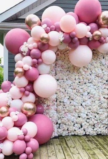 decoracion de 15 años con globos metalizados