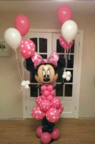 decoracion de minnie con globos para fiestas