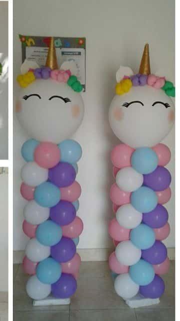 decoracion de unicornio para niña con globos