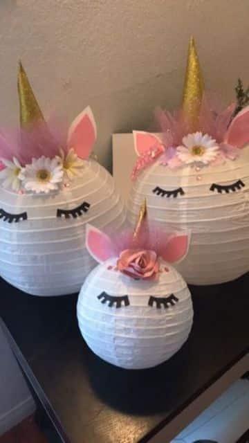 decoracion de unicornio para niña con papel