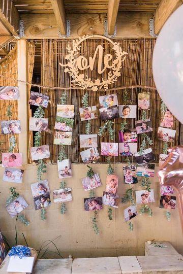 decoracion de pared para cumpleaños con fotografias