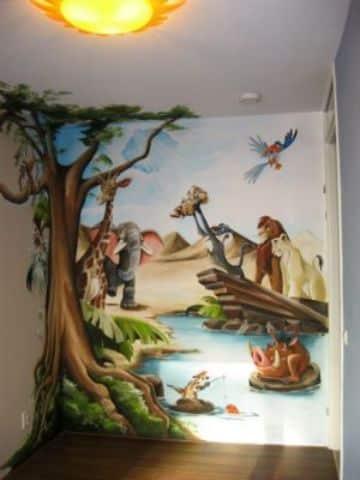 decoracion del rey leon en la pared