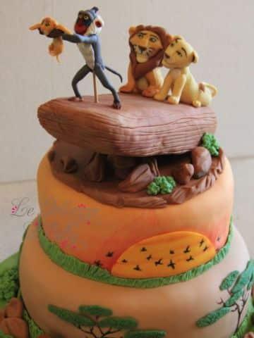 decoracion del rey leon en pastel