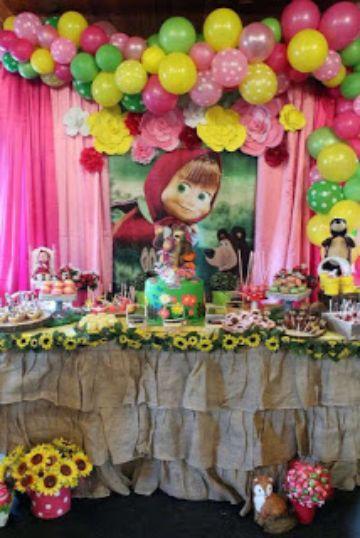 fiesta de cumple tematica de masha y el oso