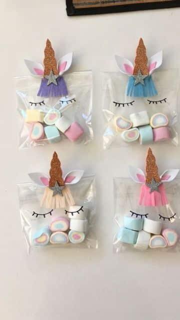 fiesta tematica de unicornio para niña bolsas de dulces