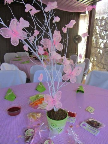 mesas decoradas para bautizo de niña