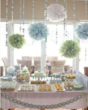 mesas decoradas para bautizo de niño