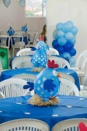 tematica de la gallina pintadita centros de mesa