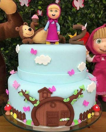 torta con tematica de masha y el oso