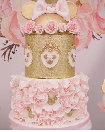 torta de cumpleaños tematica minnie golden