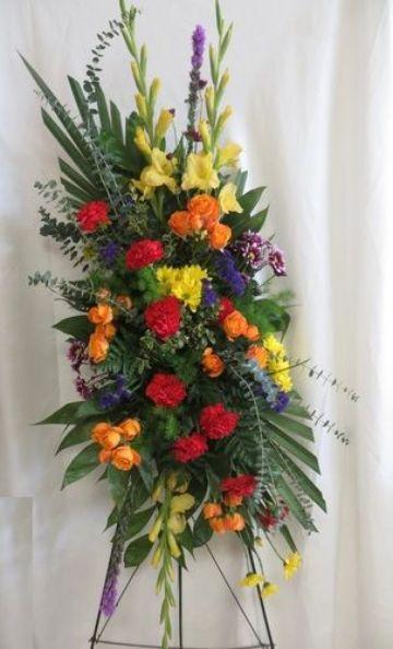 arreglos florales funebres con muchos colores