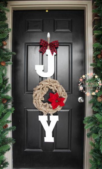 decoraciones navideñas para puertas con letras