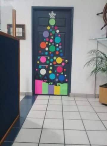 decoraciones navideñas para puertas con stickers
