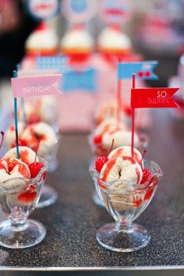 dulces para una fiesta infantil con helados