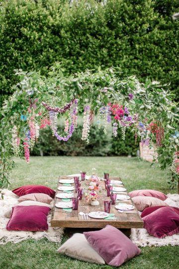 como decorar una mesa de cumpleaños al aire libre