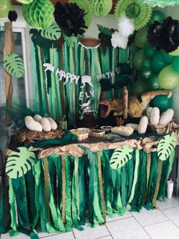 como hacer una decoracion de dinosaurios para cumpleaños