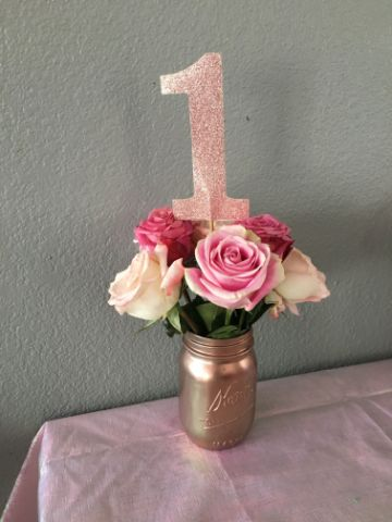 decoracion para cumpleaños de niña de 1 año para centros de mesa