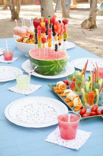 fiestas infantiles en jardin con frutas