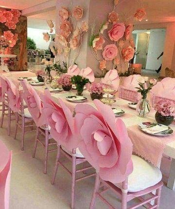 ideas para mesas decoradas con flores de papel