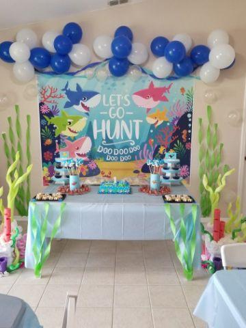 decoracion de baby shark para fiesta