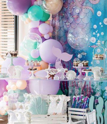 decoracion de sirenita para fiesta infantil en casa
