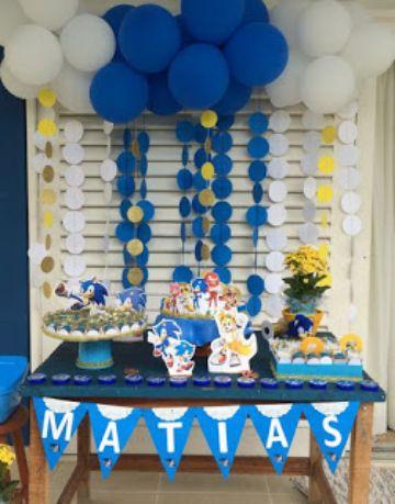 decoracion tematica de sonic para cumpleaños
