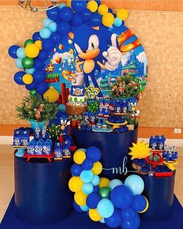 tematica de sonic para cumpleaños mesa de dulces