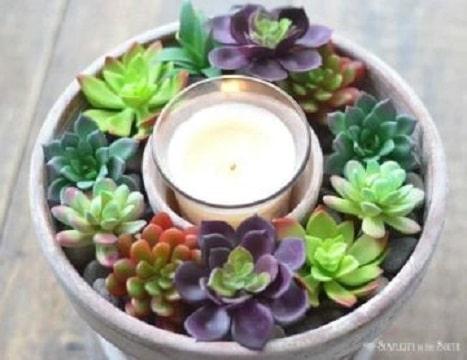 centros de mesa para jardin con velas