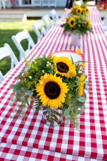 centros de mesa para picnic con flores