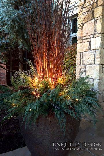 decoracion navideña para patios con plantas