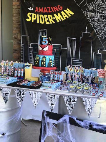 4 estilos de mesa de dulces spiderman