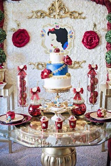 mesa de dulces de blanca nieves para quinceaños