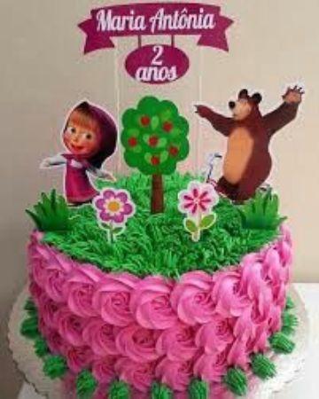 torta de masha y el oso en crema para niñas