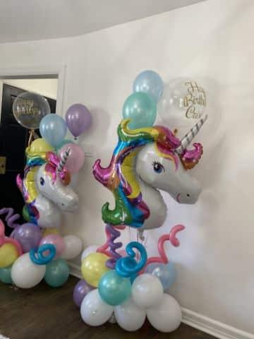 arreglos de unicornio con globos sencillos