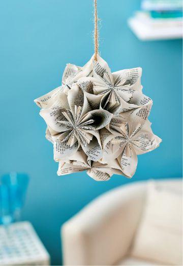 bolas de papel para decorar con papel periodico