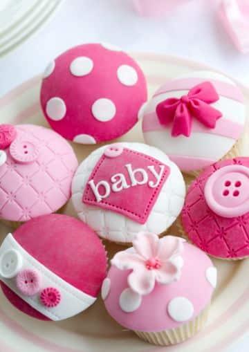 cupcakes para baby shower de niñas